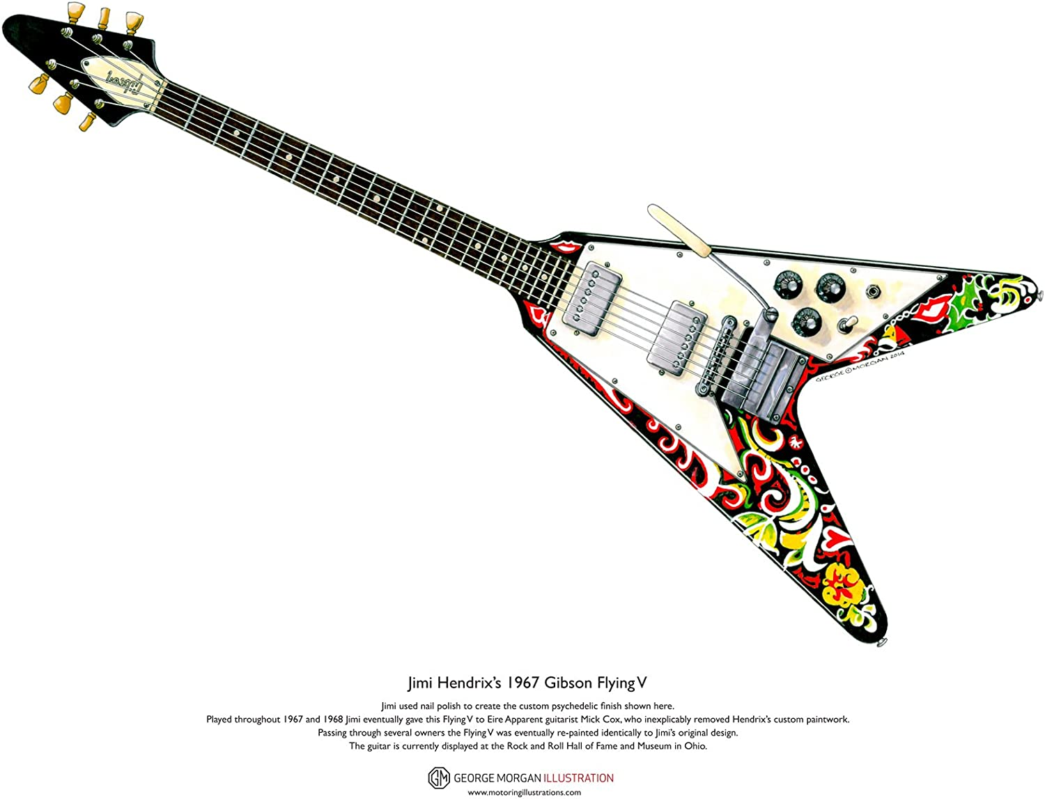 George Morgan Illustration Arte Cartel Guitarra de Jimi Hendrix ...
