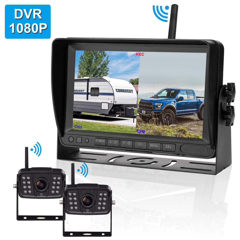 Yakry FHD 1080P Digital Wireless 2 Backup Camera for RVs/Trailers/Trucks/Motorhomes/5th Wheels 7''Monitor with DVR YakraHighway Monitoring System IP69K Waterproof Super Night Vision