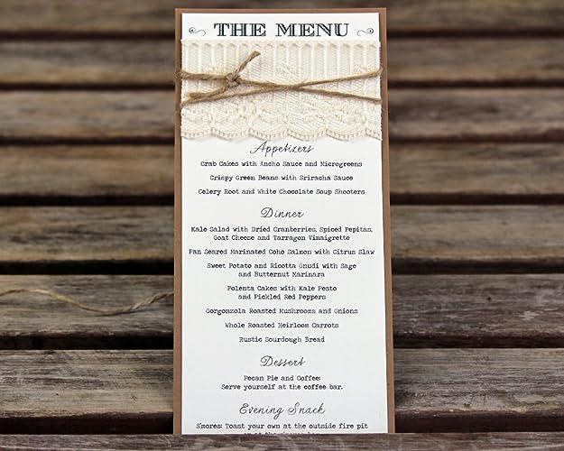 amazon com lace wedding menus handmade custom wedding menu rustic