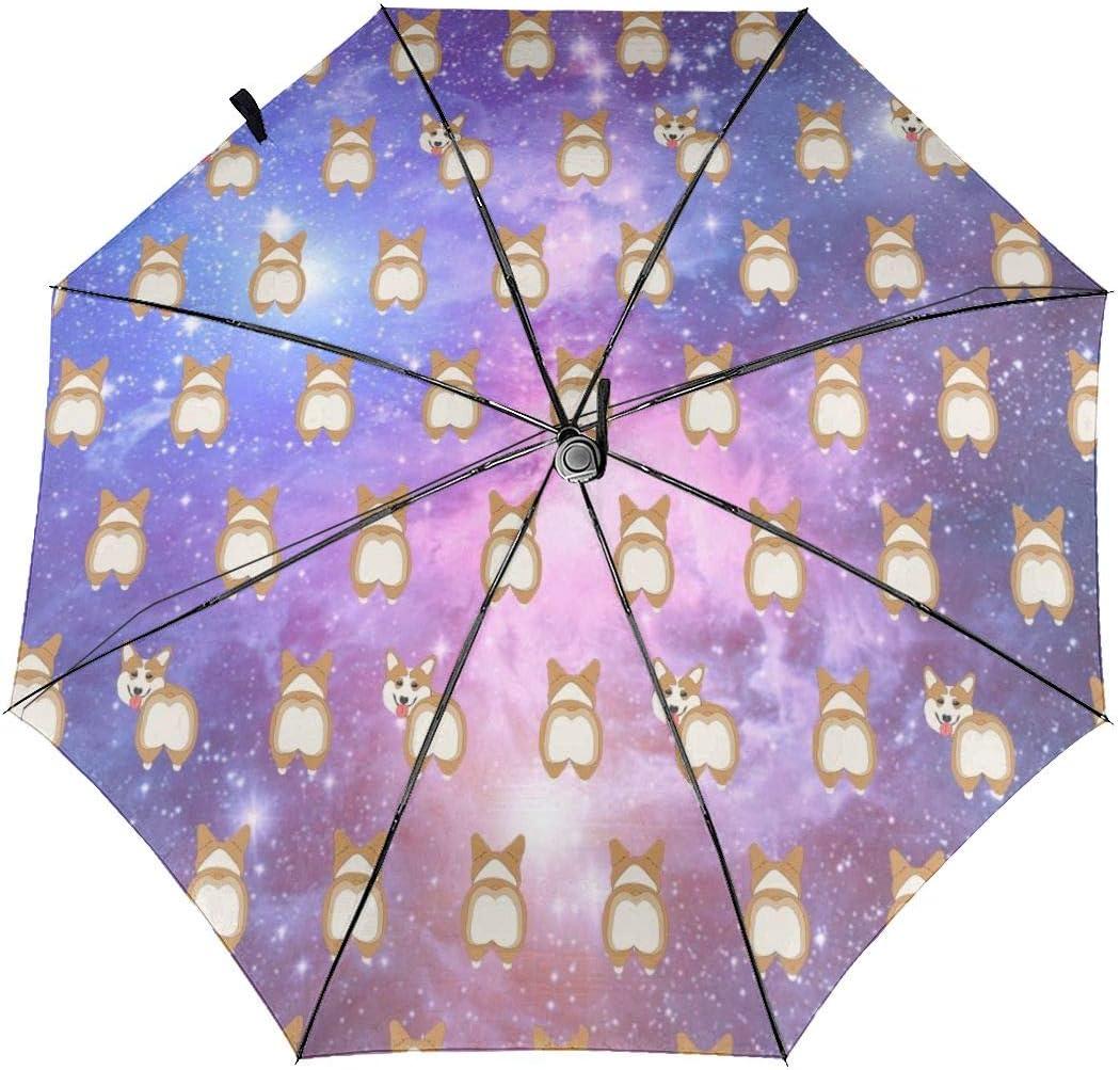 Starry Sky Corgi Butt Automatic Open Folding Compact Travel Umbrellas For Women