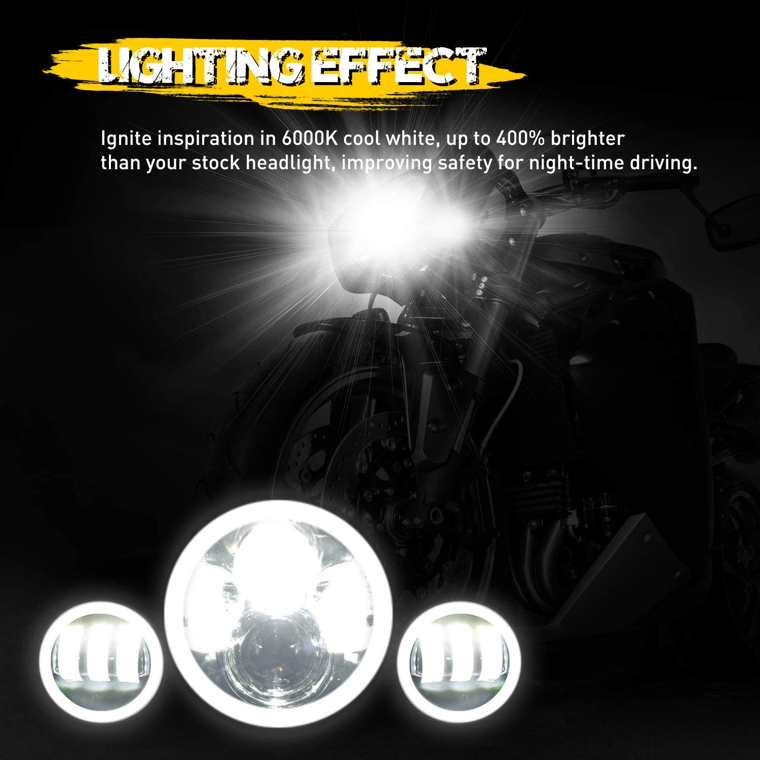 Street Glide and Electra Glide Road Glide Ultra Limited Halo LED Headlight with 4-1//2 Passing Light Fog Lights and Bracket Mounting Ring for Road King AAIWA 7 LED Headlight for Motorcycle