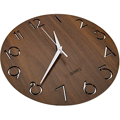 Buy Nicunom 12 Inch Arabic Numeral Design Wooden Wall Clock Round Rustic Country Style Wall Clocks Silent Non Ticking Battery Operated Vintage Home Decor For Kitchen Living Room Bedroom Office Brown Online In Turkey B08g1h28yn