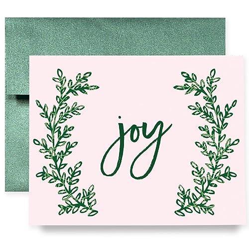 Amazon joy christmas holiday greeting cards boxed set of 8 joy christmas holiday greeting cards boxed set of 8 shimmer cards emerald envelopes folded pink m4hsunfo