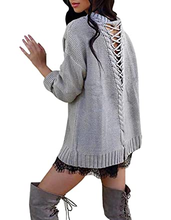 f68b95b8d6 LovInParis Women Loose Sweater Tops Round Neck V Criss Cross Backless Long  Sleeve Knit Pullover A8009