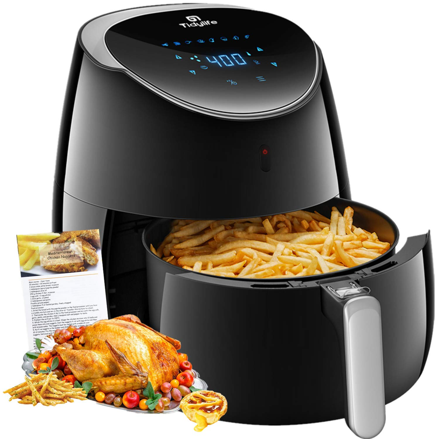 Air fryer, Tidylife 5.8 QT Air Fryer XL with LCD Digital Touchscreen, 1700W Electric Hot Air Fryer with 8 Cooking Preset, Fast Oilless Cooking, Auto Shut Off with 50 Recipes