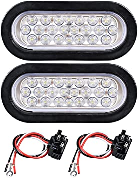 amazon.com: 12v oval sealed led truck tractor trailer tail light + wiring  plug (pack of 2, white): automotive  amazon.com