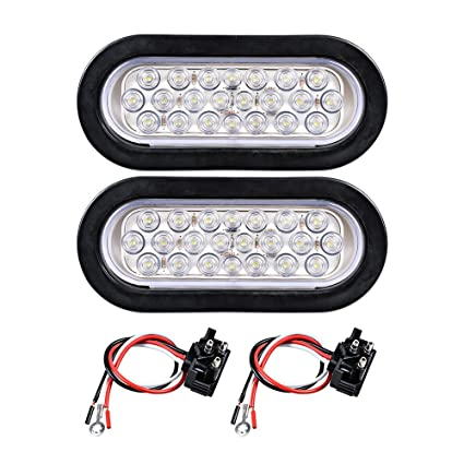 amazon com: 12v oval sealed led truck tractor trailer tail light + wiring  plug (pack of 2, white): automotive