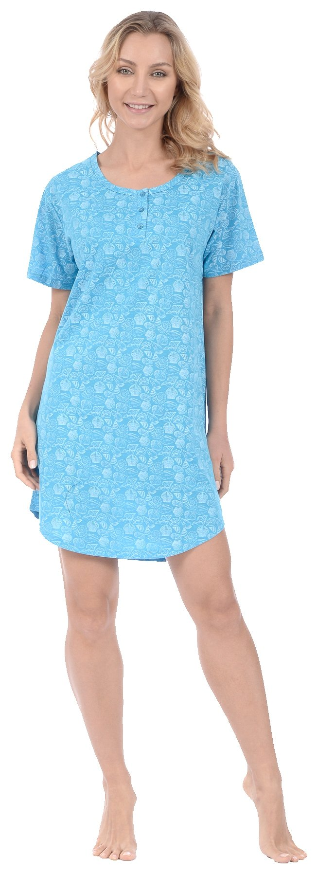 Pink Lady Women's Nightshirt Short Sleeve Loungewear PJ (XXX-Large, Turquoise)