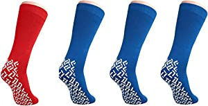Nobles XXXL Extra Wide Bariatric Non Skid Slipper Socks for Swollen Feet and Edema -XXXL Extra Wide (4 Pairs 3 Blue 1 Red)