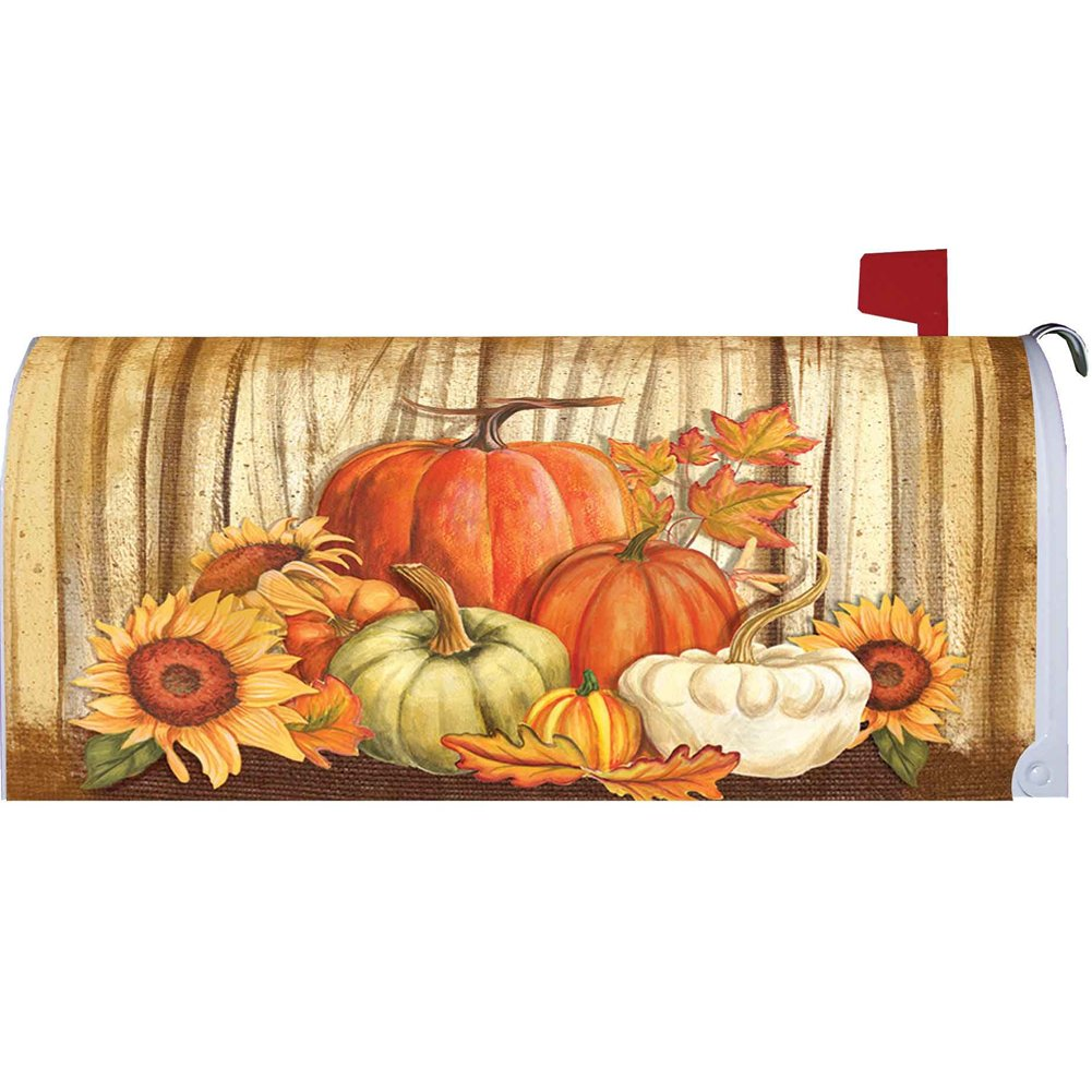 Pumpkins on Barnwood Mailbox Makover Cover - Vinyl with Magnetic Strips