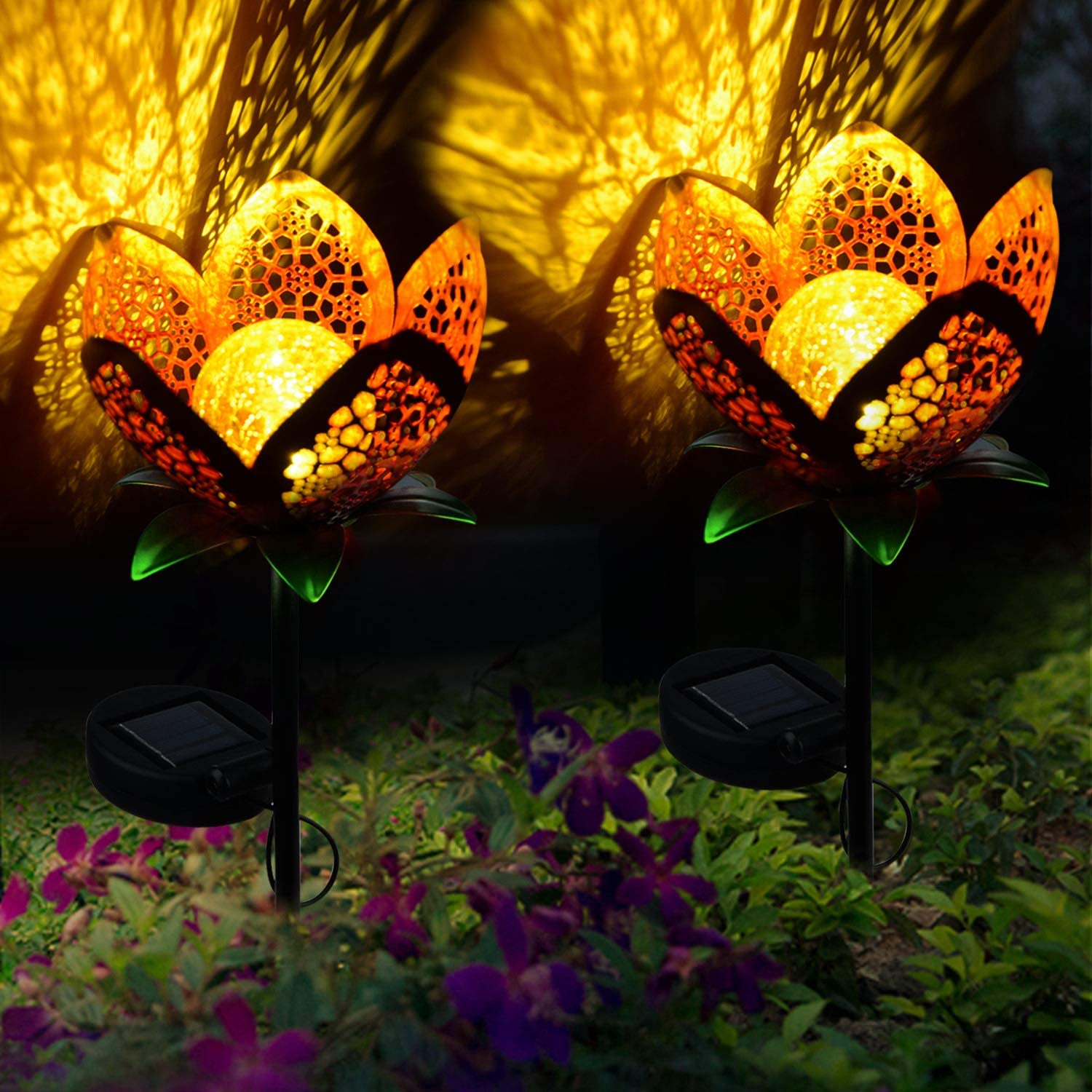 Pannow Large Metal Glass Solar Flowers Yard Art, Garden Solar Lights Outdoor,Solar Powered Stake Lights,Decorative Garden Lights for Walkway,Pathway,Yard,Lawn,2Pack