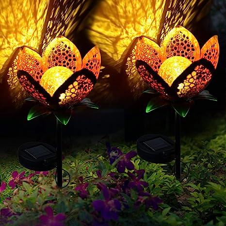 Amazon Com Large Metal Glass Solar Flowers Yard Art Garden Solar Lights Outdoor Solar Powered Stake Lights Decorative Garden Lights For Walkway Pathway Yard Lawn 2pack Home Improvement