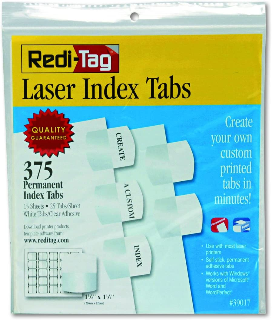 Redi-Tag Laser Print Customizable Index Tabs, Permanent Adhesive, 1-1/8 x 1-1/4 Inches, Bulk Packed, 375 Tabs per Pack, White (39017) : Office Products