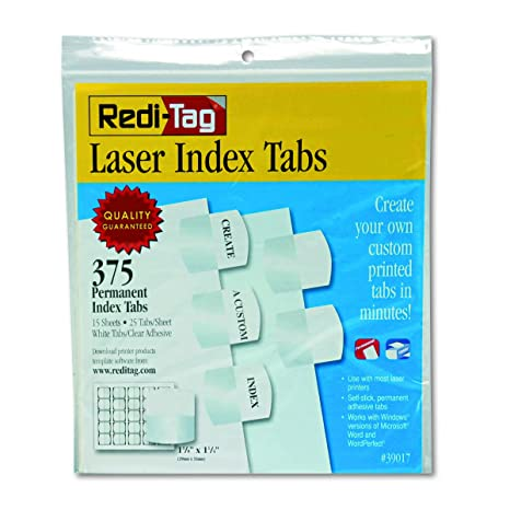 Redi-Tag Laser Print Customizable Index Tabs, Permanent Adhesive, 1-1/8 x  1-1/4 Inches, Bulk Packed, 375 Tabs per Pack, White (39017)