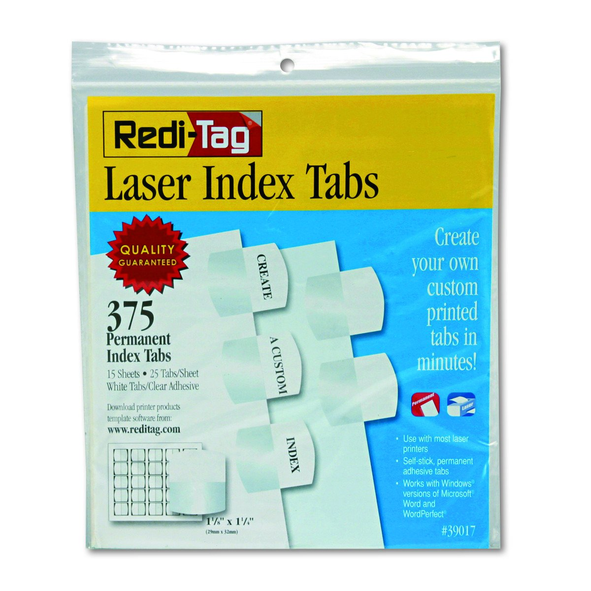 Redi-Tag Customizable Laser Printable Index Tabs, Permanent Adhesive, 1-1/8 x 1-1/4 Inches, Bulk Packed, 375 Tabs per Pack, White (39017)