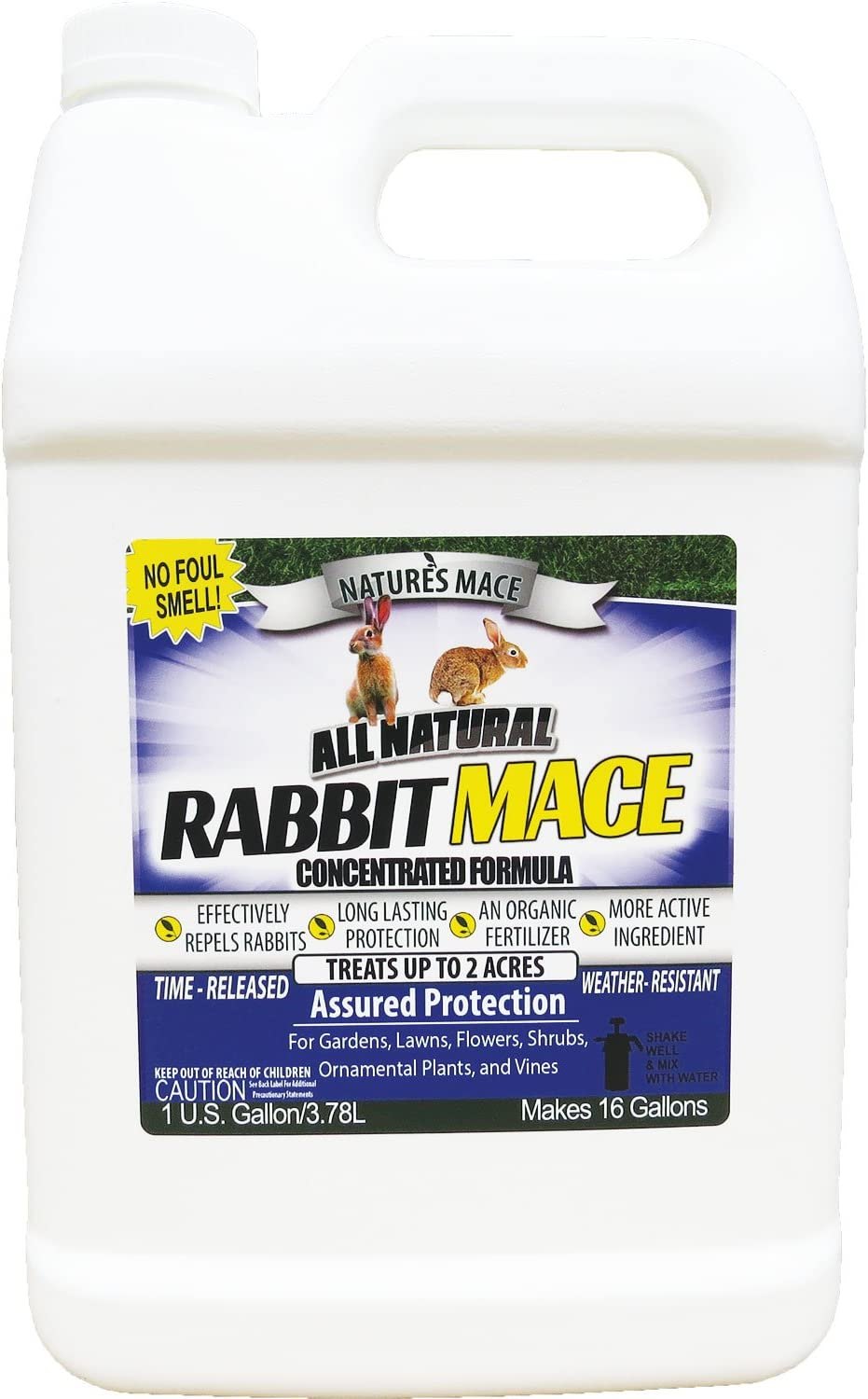 Nature's Mace Rabbit Mace 1 Gal Concentrate/Covers 2 Acers/Rabbit Repellent and Deterrent/Keep Rabbits Out of Your Lawn and Garden/Safe to use Around Children & Plants