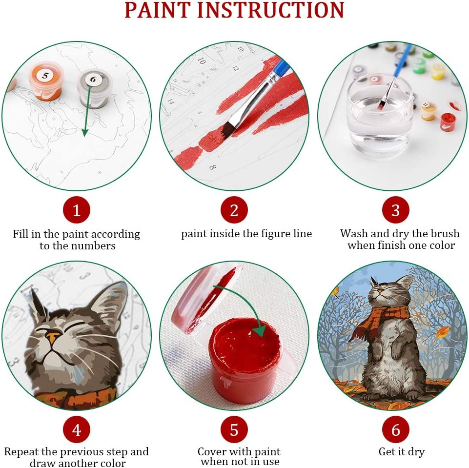 Various Cat Series Paint by Numbers for Adults Kids Beginners Easy Acrylic on Canvas 16x20with Paints and Brushes,Cat with Scarf Without Frame