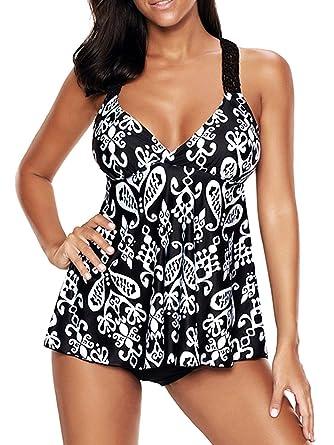 77429d11f69 Zando Womens Print Cute High Waist Tankini Swim Top Set Swimsuit Bathing  Suit Swimwear Juniors Vintage