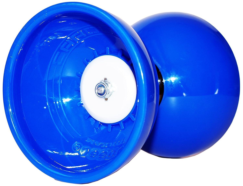 Blanc//Bleu Diabolo + Bleu Baguettes Id/éal pour les enfants et les adultes! JESTER Pro Diabolo Roulement A Bille Diabolo Baguettes en FIBER et Diablo Ficelle Diabolos Sac de Transport