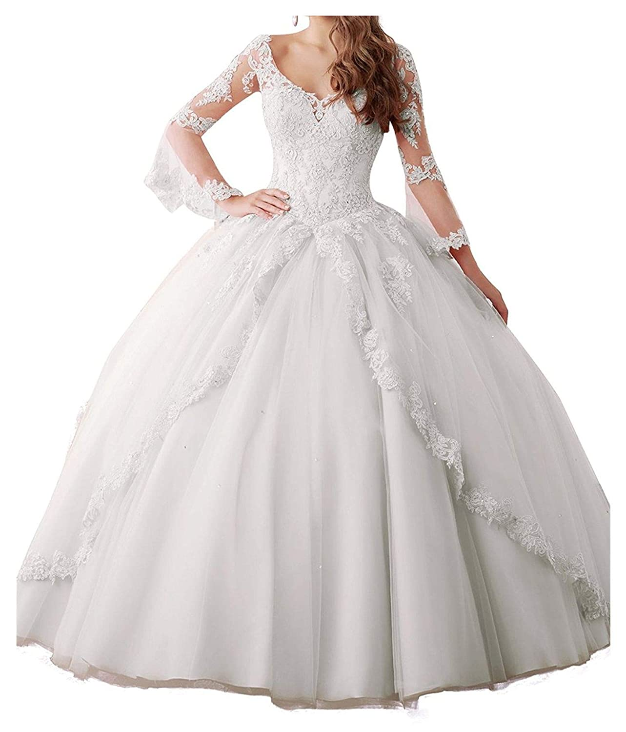 White Yang Women Sheer Lace Long Sleeve Ball Gowns Tulle Beaded Girls Quinceanera Dresses
