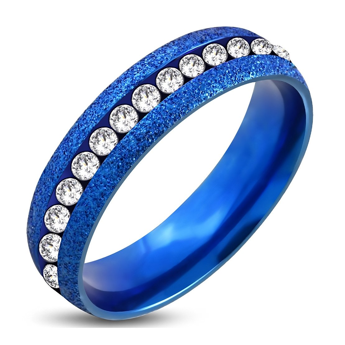 Stainless Steel Blue Sandblasted Channel-Set Eternity Comfort Fit Band Ring withClear CZ