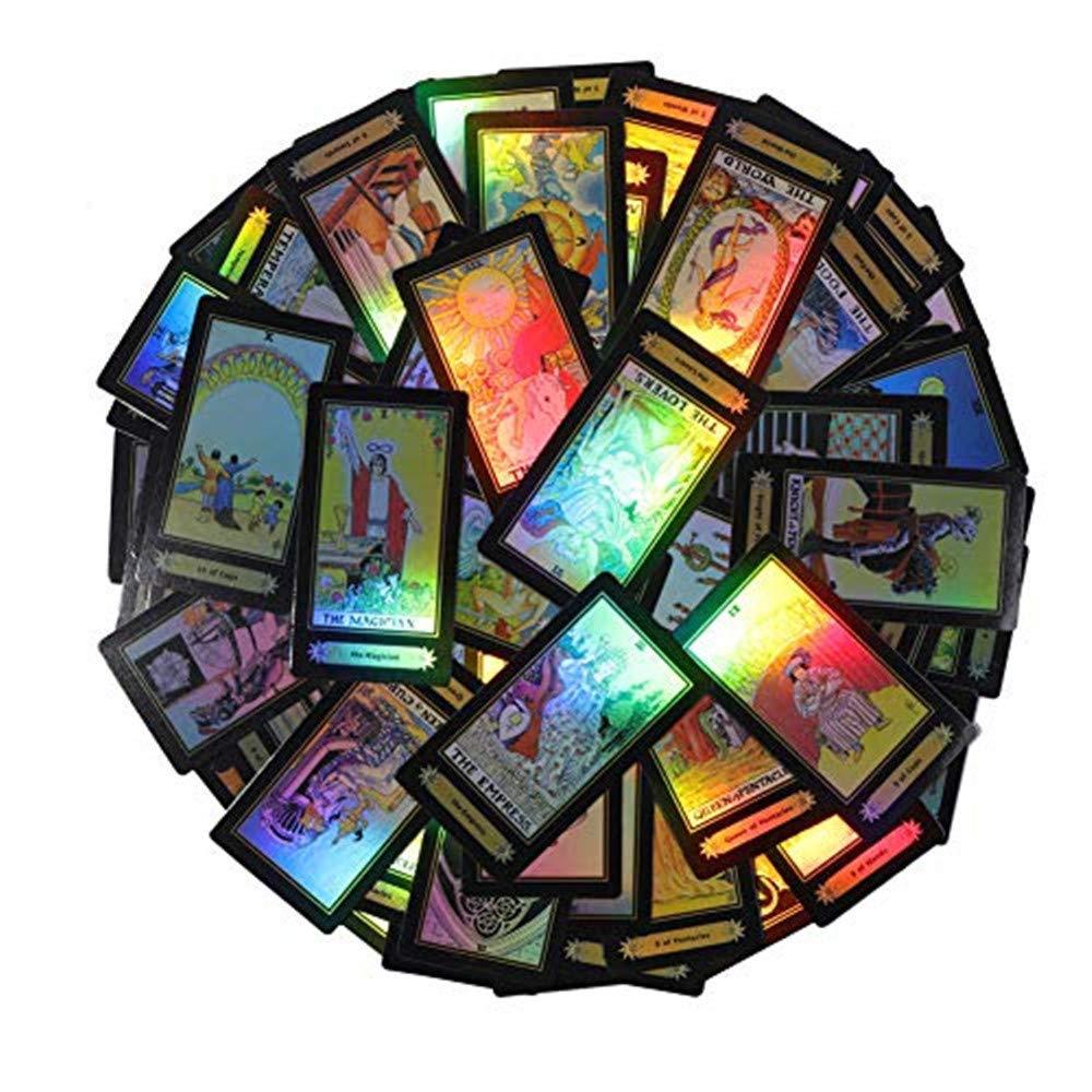 78Pcs/Satz Shiny Tarot Cards Beautiful Rider Waite Tarot Future Telling Game Cards Satz für Beginner Board Game (English Edition)