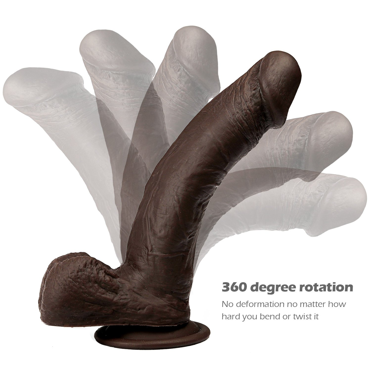 8 Inch Realistic Silicone Dildo with Strong Suction Cup for Female, LUV-SPOT Hands-Free Lifelike Penis Adult Sex Play for Women and Couples by LUV-SPOT (Image #7)