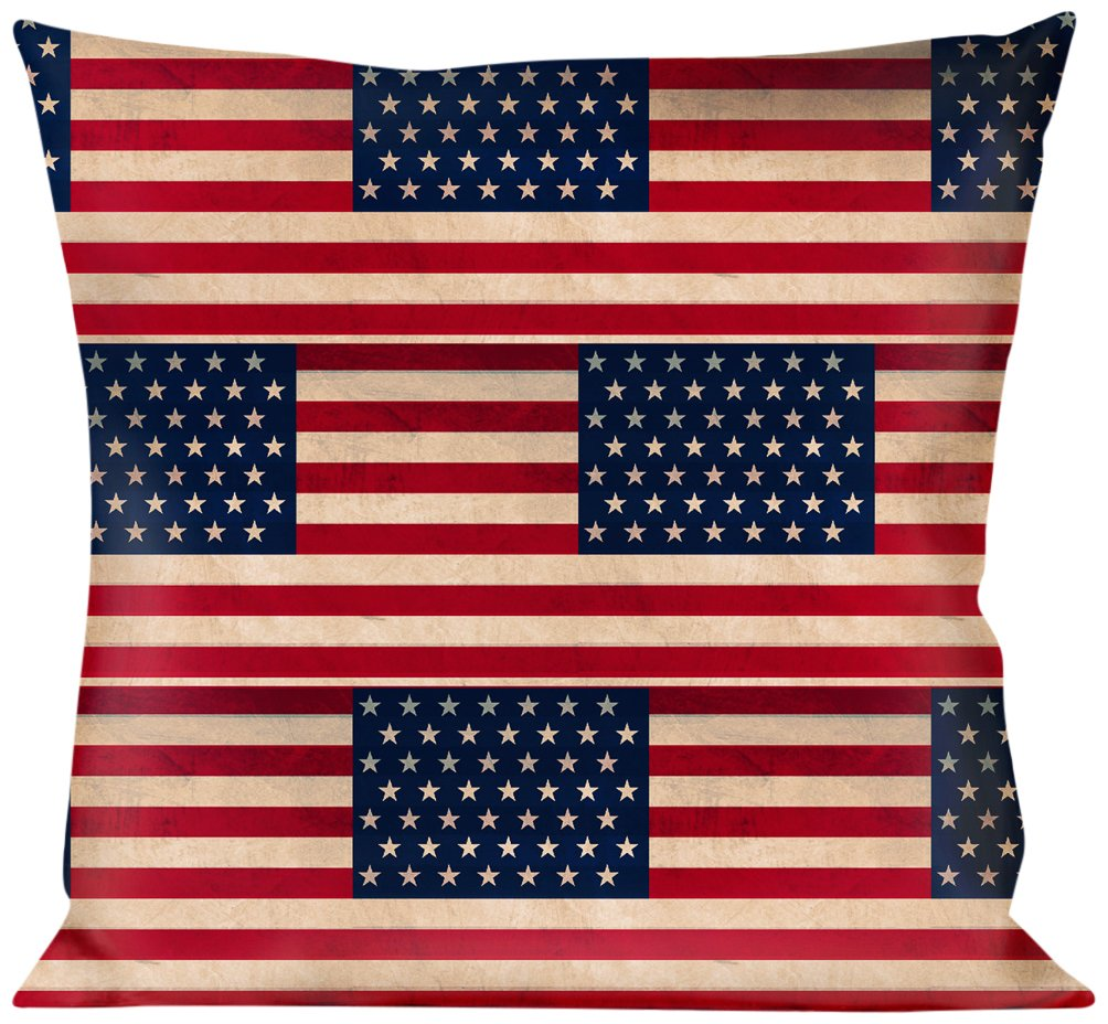 Buckle Down American Flag Weathered Color Repeat Throw Pillow Americana