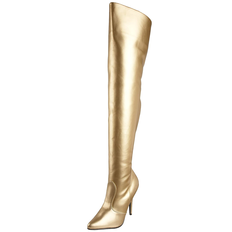 Pleaser Women's Seduce-3010 Thigh High Boot B000GE41UK 9 B(M) US|Gold Pu