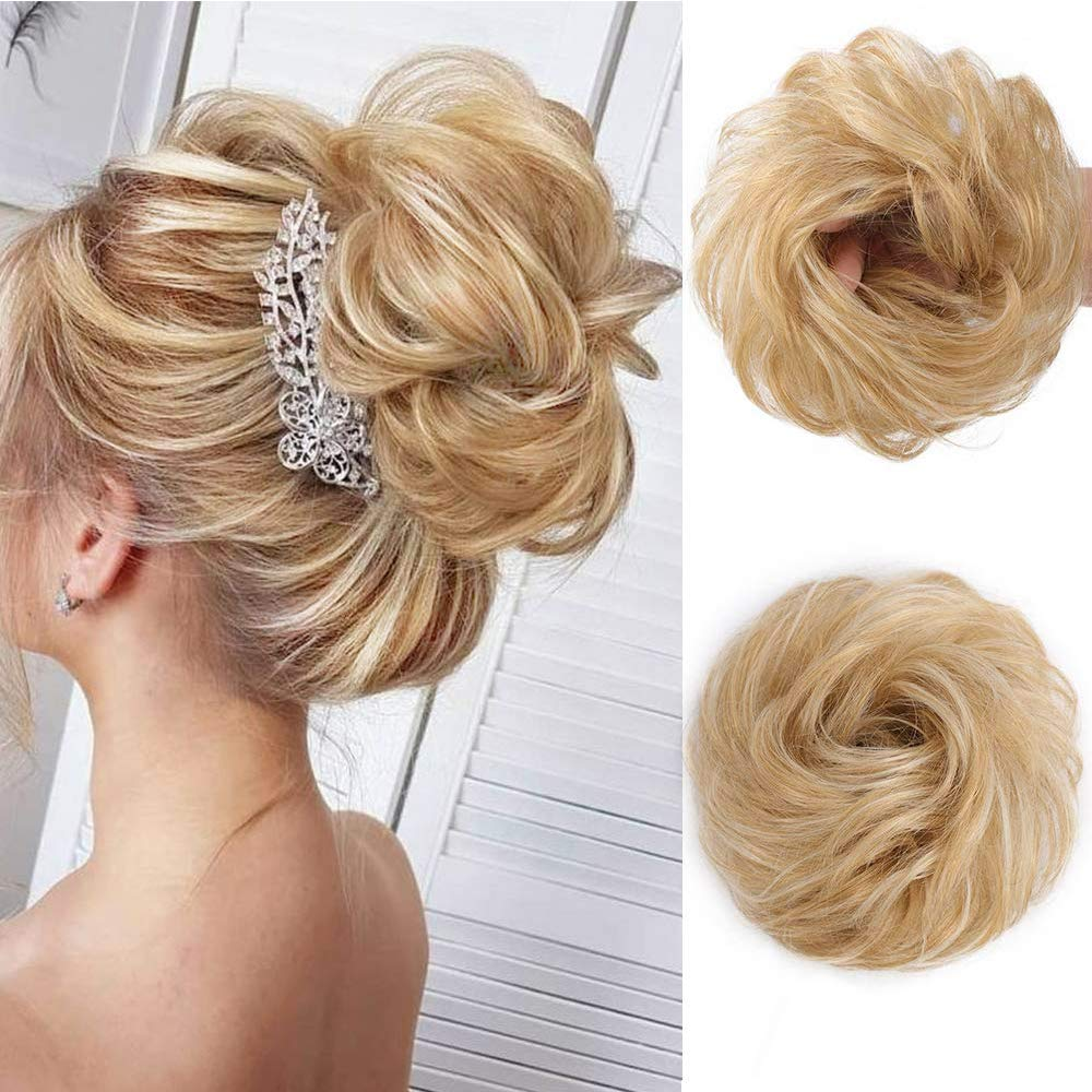 Stamped Glorious Curly Wavy Updo Hair Bun Extensions Curly Messy Hair Pieces For Women Wedding Hair Pieces For Women Kids Donut Updo Ponytail Scrunchy