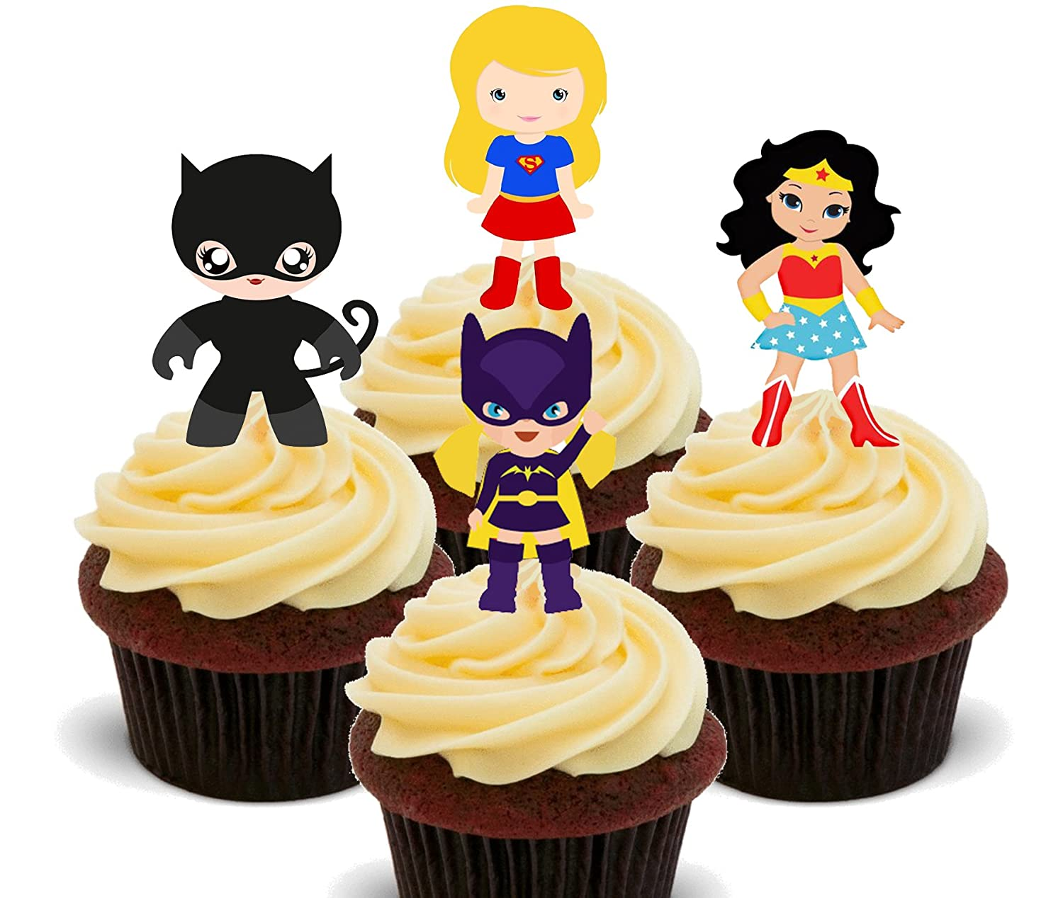 Superhero Girls - Edible Cupcake Toppers - Stand-up Wafer Cake ...
