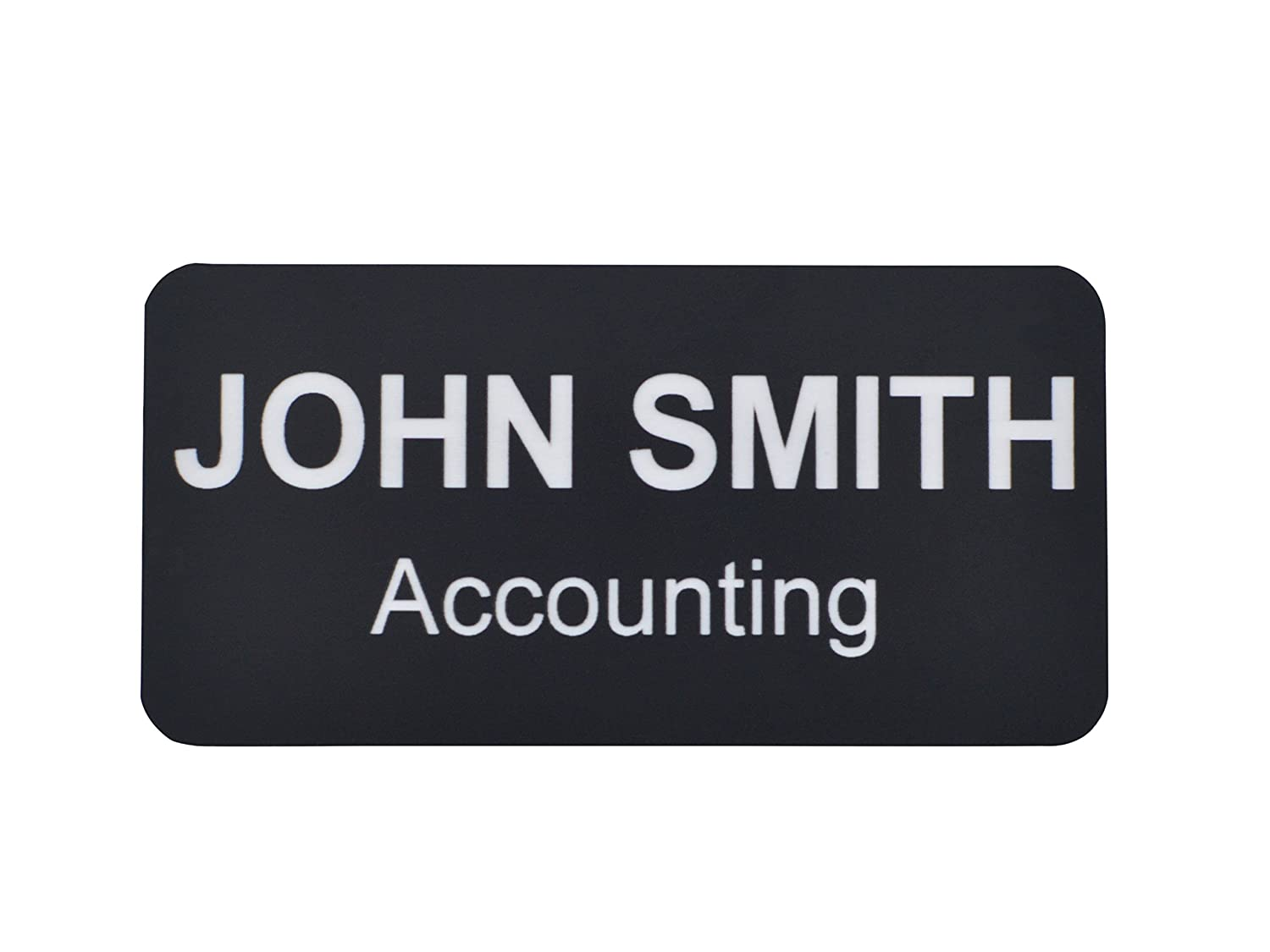 Name Badges | Name Tags | Engraved Identification - Up to 3 Lines of Engraving Included, 2 Sizes & 14 Colors, Pin or Magnetic Backing (1x3, Blue/White) Providence Engraving