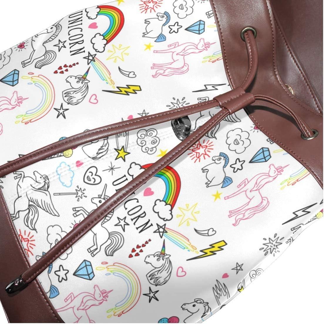 Leather Unicorn Rainbow Magic Backpack Daypack Bag Women