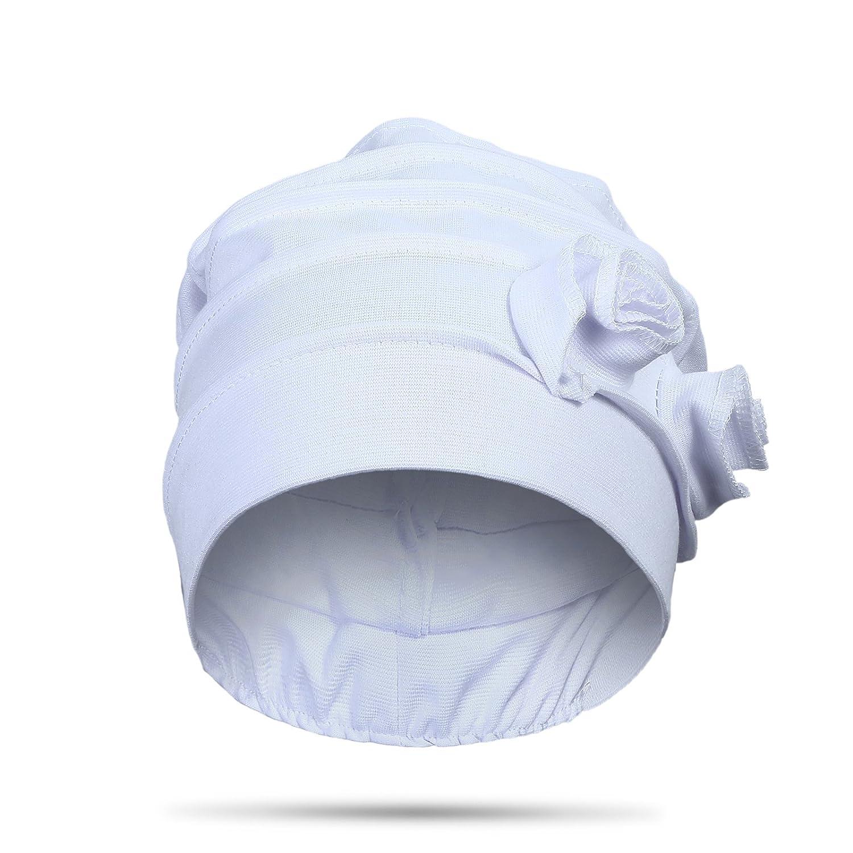 9f6e8a44d26 Welrog Women Flower Muslim Headscarf - Pleated Sleep Turban Chemo ...