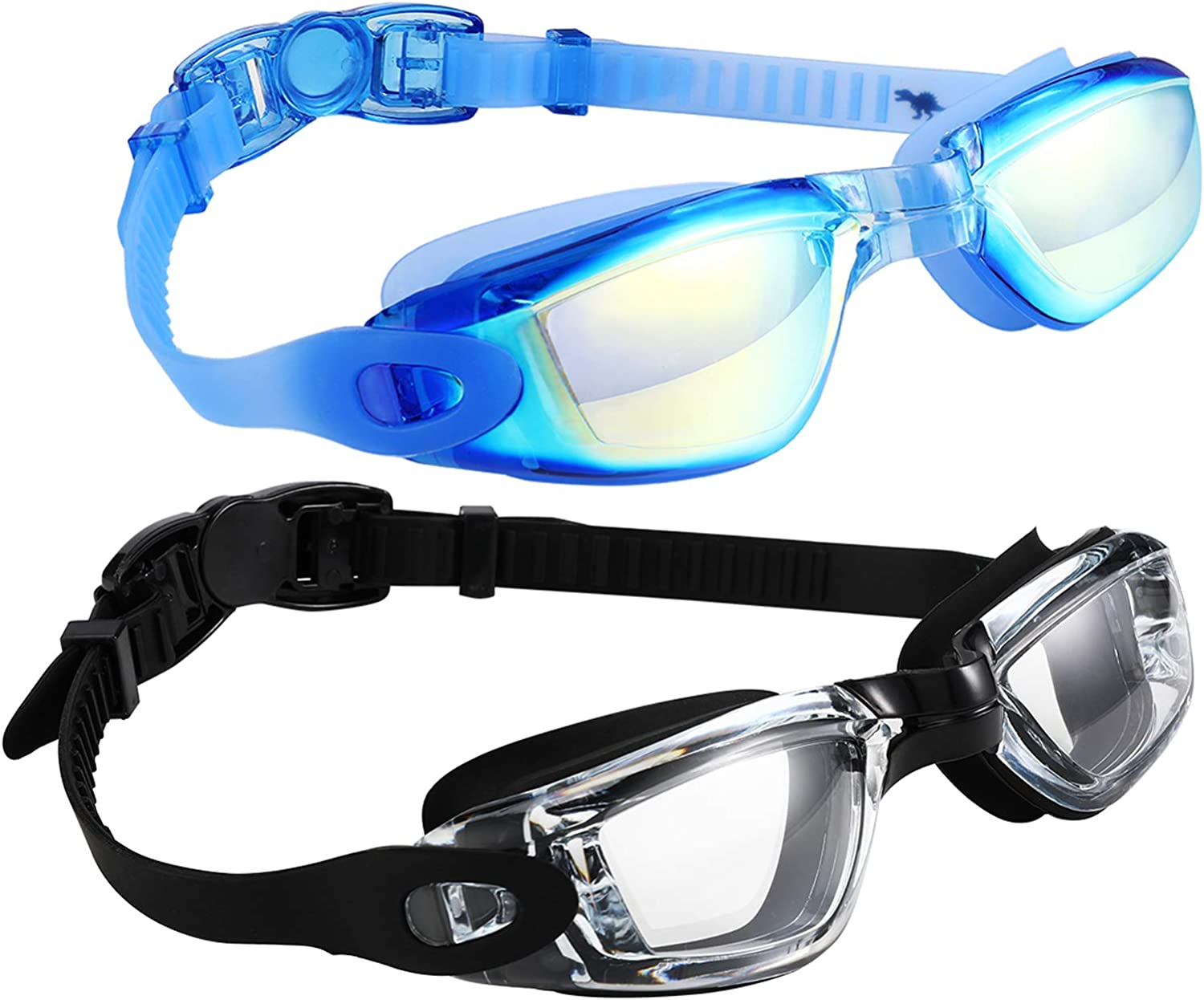 Anti Fog Waterproof UV Protection Mirrored Clear Vision Triathlon Goggles Swim Goggles 2 Pack No Leaking Swimming Goggles for Adult Men Women Youth