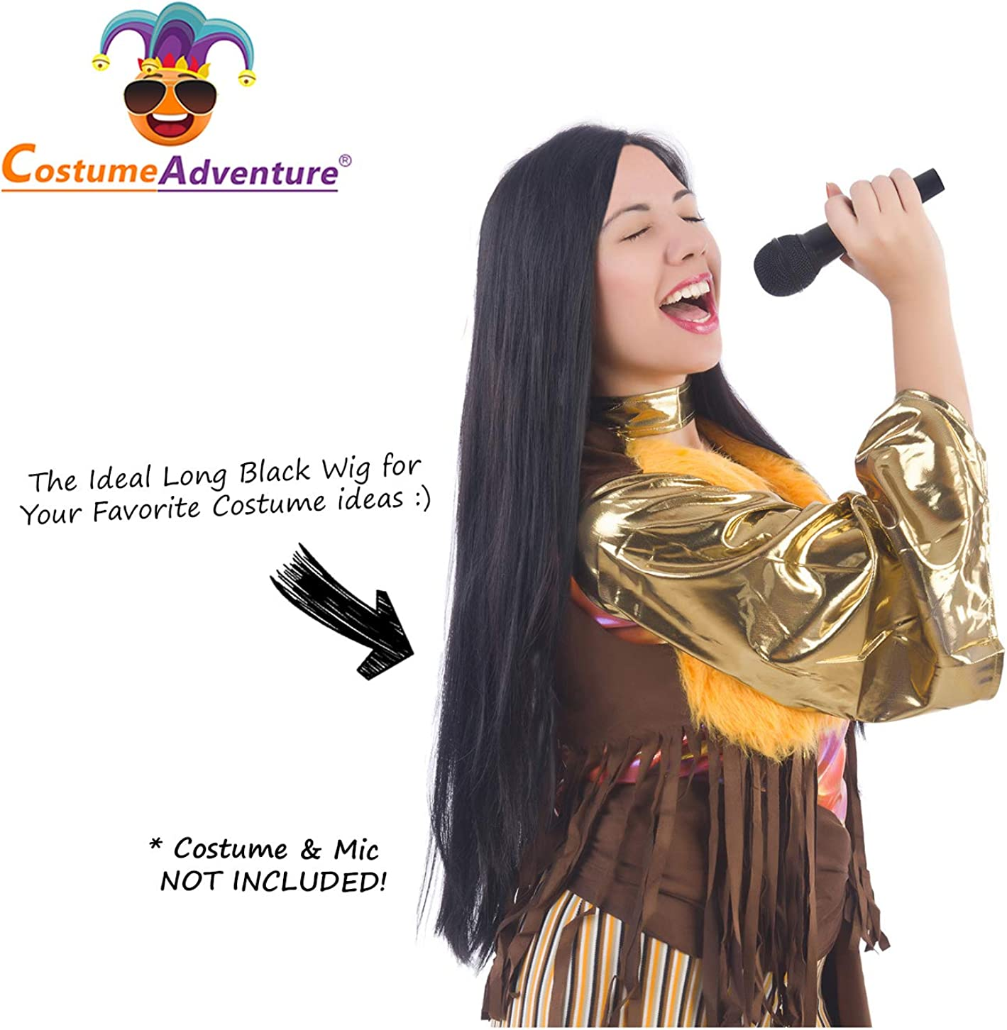 Amazon Com Long Black 70 S Cher Wig Witch Wig Sonny And Cher Costume Wigs Morticia Wig Beauty