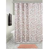 InterDesign Mosaic Vine Fabric Shower Curtain, Polyester Shower Curtain 183 cm X 183 cm, Coral/Taupe