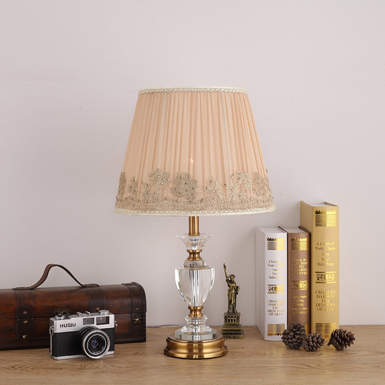 Garwarm Crystal Flower Table Lamps For Living Room Bedroom,3050CM/11.819.6 Inch WH.
