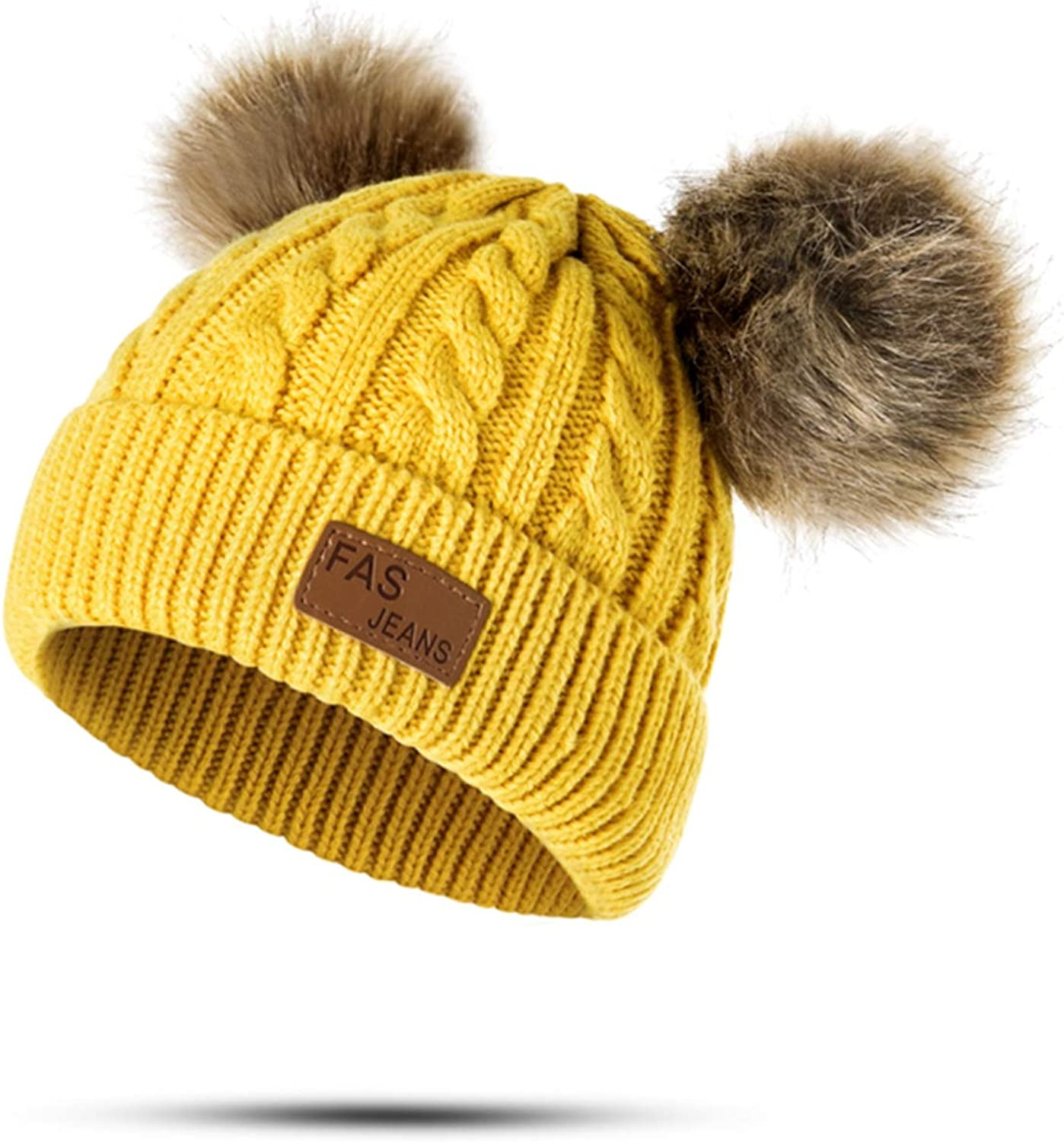 Ron Kite Winter Hat Pom Poms Hat Children Knitted Beanies Thick Baby Hat Infant Toddler Warm Cap