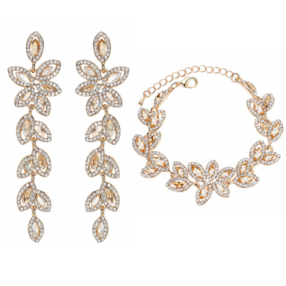 mecresh Champagne Rhinestone Leaf-Shape Earring and Bracelets Wedding Jewelry Sets for Women Brides Bridesmaid