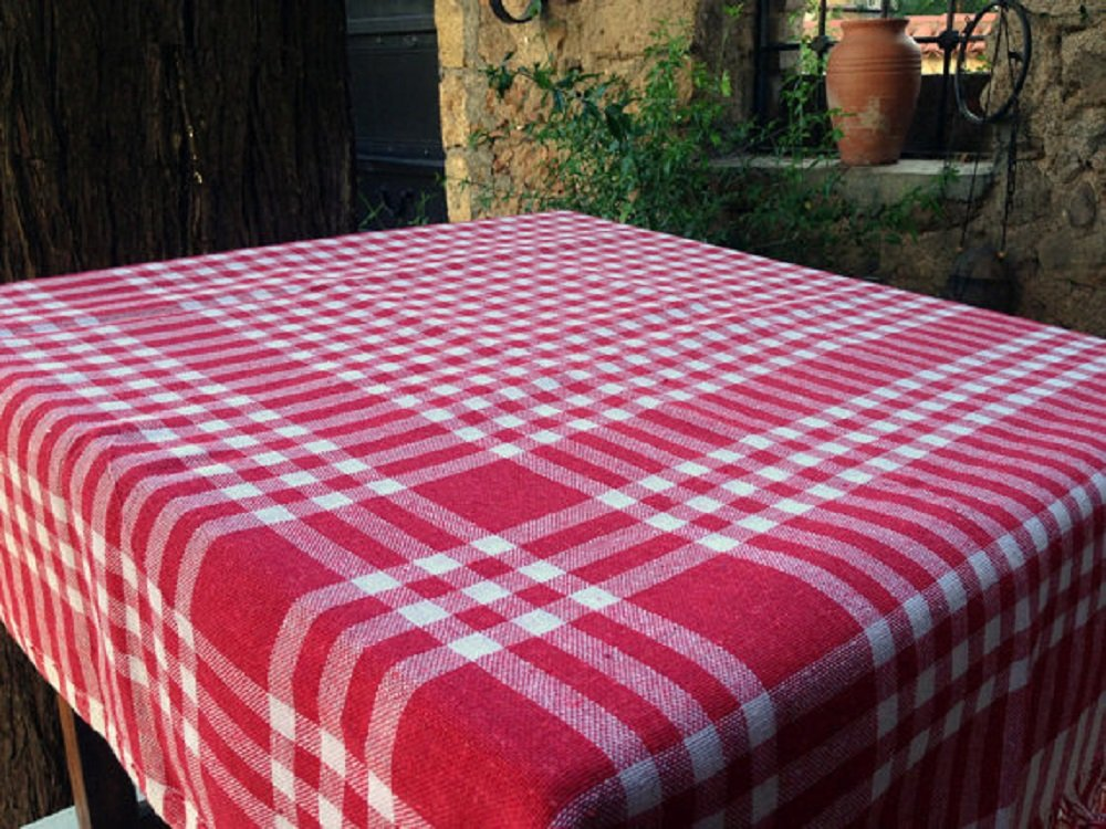 Wonderful Amazon.com: Tablecloth Linen 100% Cotton Checkered Gingham Buffalo Picnic  Blanket Square (55x55, Classic Red): Home U0026 Kitchen