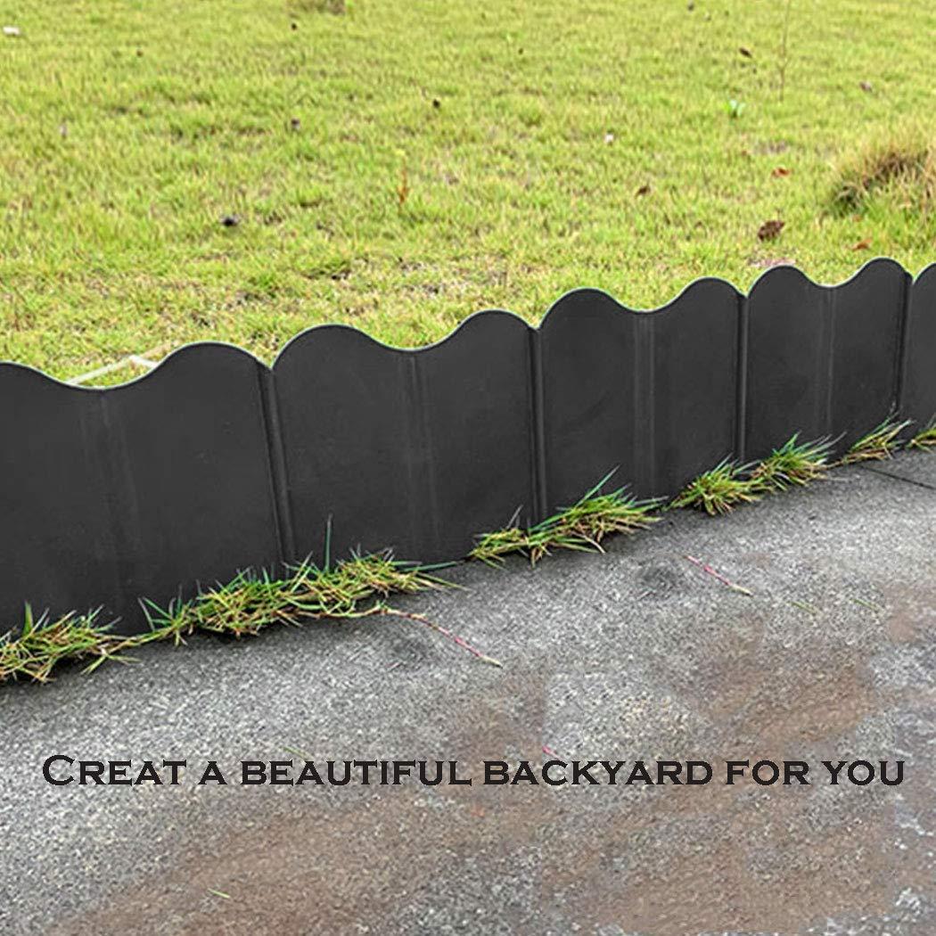 Black Aydaya 30Pcs Interlocking Landscaping Edging Kit,Plastic Heavy Duty No-Dig Pound-in Garden and Landscape Edging 5.9 x 5.1in Each