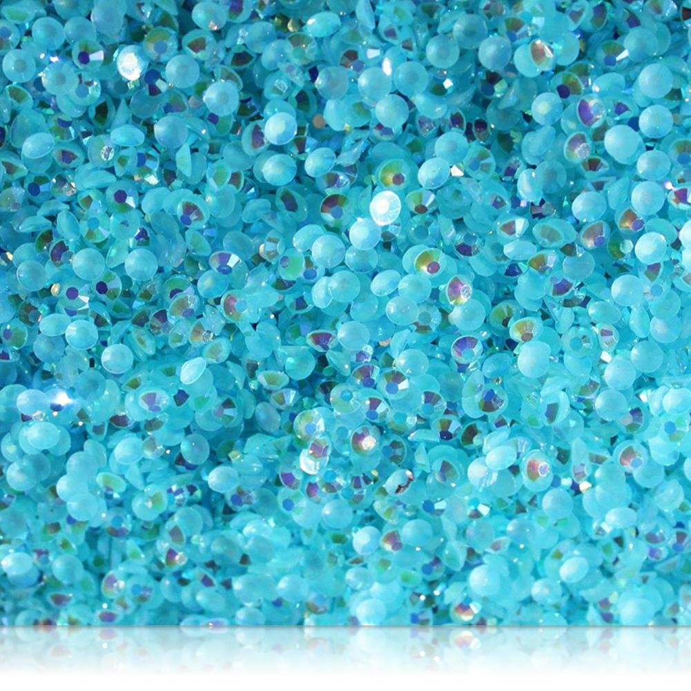 "100% Custom Made (5mm) 1000 Bulk Pieces of Mini Size ""Glue-On"" Flatback Embellishments for Decorating, Made of Acrylic Resin w/Shiny Iridescent Crafting Rhinestone Crystal Iced Teal Gem Style {Blue}"
