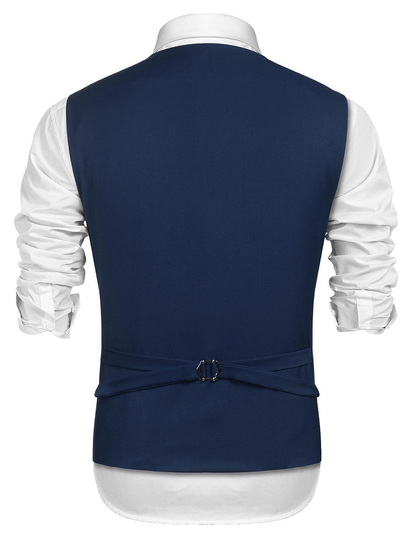 JINIDU Mens Floral Dress V-Neck Vest Waistcoat Slim Fit for Suit or Tuxedo