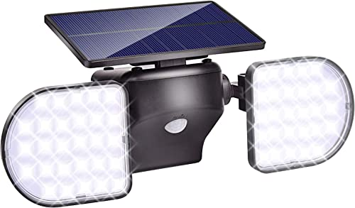 LED Solar Lights Outdoor,DGEMOC Solar Motion Sensor Light with Dual Head Spotlights 56 LED Waterproof 360-Degree Rotatable Solar Security Light Outdoor for Front Door Yard Garden Garage Porch