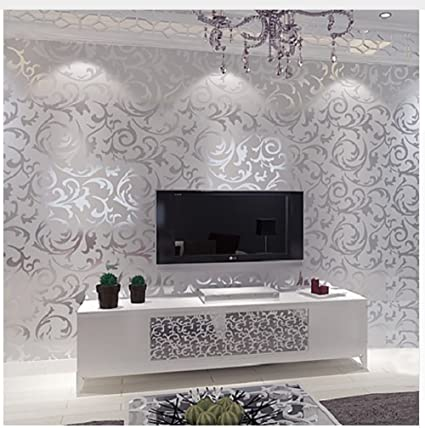 Incroyable Silver Leaf Scroll Background Wall Paper Roll Vinyl Damask Wallpaper Bedroom,living  Room Décor