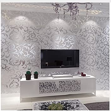 Buy Silver Leaf Scroll Background Wall Paper Roll Vinyl Damask Wallpaper Bedroom Living Room Decor Online At Low Prices In India Amazon In