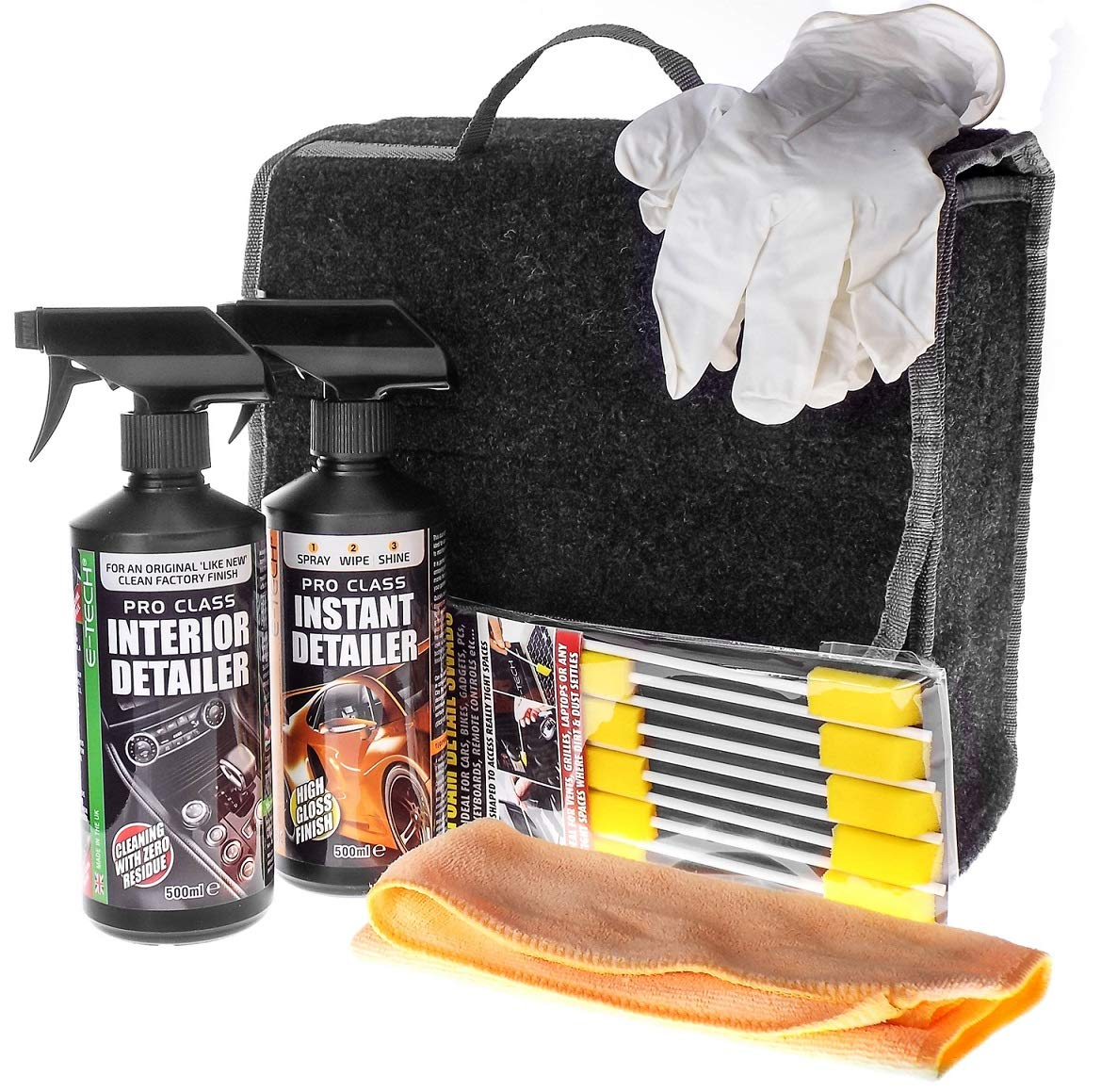 MP Essentials E-Tech 6pce Car Interior & Exterior Detailing Wash Cleaning Valet Kit - GREAT GIFT IDEA FOR HIM & HER ETech