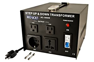 Regvolt AC-3000 Step Up & Down Voltage Converter Transformer, 3000 Watts - Heavy Duty Continuous Use Voltage Converter 110 Volt and 220 Volts, CE Certified