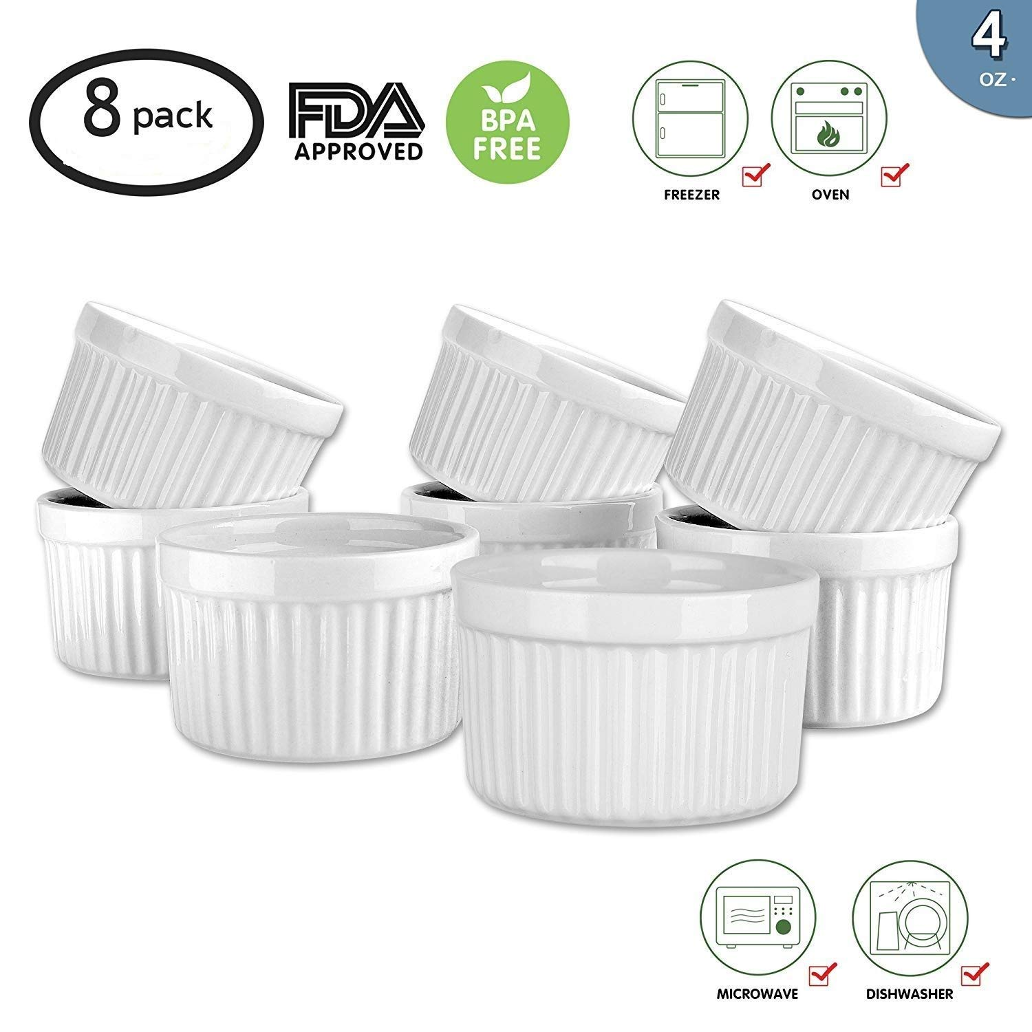 MAMA-AI Encheng 4 oz. Porcelain Ramekins, Porcelain Souffle Dishes, Ramekins for Souffle, Creme Brulee and Dipping Sauces - Set of 8, White